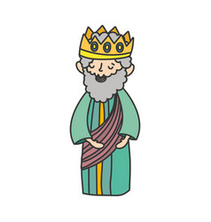 Wise king with crown manger nativity merry vector