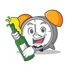 With beer alarm clock mascot cartoon vector