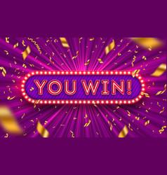 you win - neon light retro signboard vector image