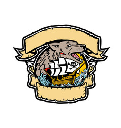 angry wolf pirate ship banner retro vector image vector image
