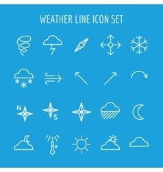 Blue and white weather line icon vector image