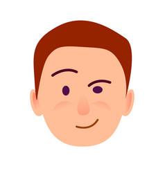 Brunette boy with distrustful look flat art icon vector