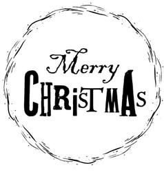 hand drawn christmas frame and printed text vector image vector image