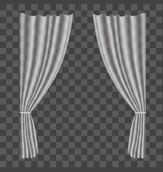 realistic curtains on transparent background vector image vector image