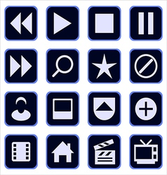 set of multimedia icons vector image