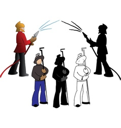 Silhouettes of firefighters and steelmaker options vector image