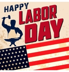 Happy labor day card template flag of usa on vector