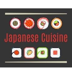Japanese cuisine restaurant logo template vector image