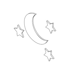 Moon and sters icon isometric 3d style vector image vector image