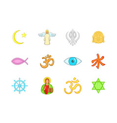 religion sign icon set cartoon style vector image vector image