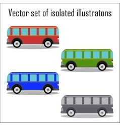 Set of retro city buses on a white background vector image