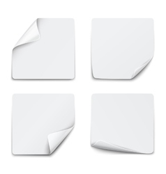 Set of white square paper stickers on white vector image