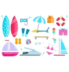 Set Summer Beach Icons vector image vector image