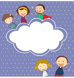 A stationery with happy children vector image