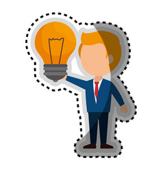 businessman character avatar with bulb vector image