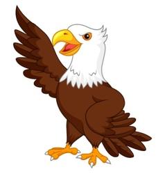 Eagle cartoon waving vector image vector image