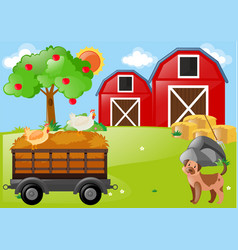 Farm scene with chickens and dog vector