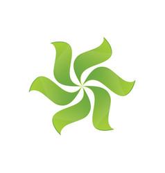 Green leaves swirl logo image vector