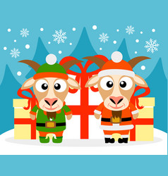 happy new year card with goat santa claus and goat vector image vector image