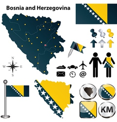 Map of Bosnia and Herzegovina vector image vector image