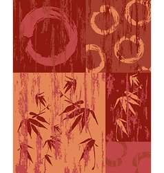 Zen circle and bamboo vintage wood poster vector image