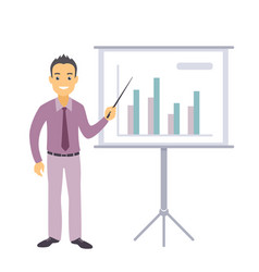 business man character pointing at charts vector image vector image