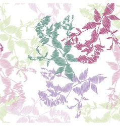 Embroidery leaves on white background vector