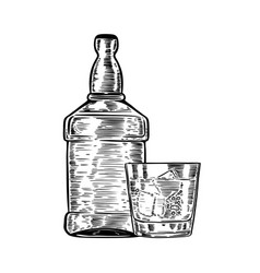 Hand drawn whiskey bottle with drinking glass vector