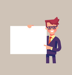 man holding blank sheet and pointing finger to it vector image vector image