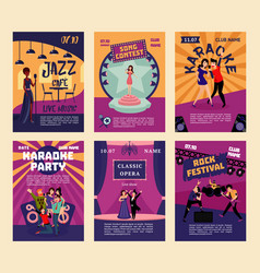 music entertainment and karaoke posters vector image vector image
