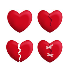 realistic detailed 3d red broken hearts set icons vector image
