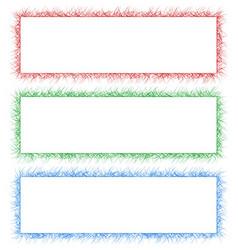 Red green and blue sketch banner frame set vector