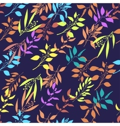 Seamless pattern with colorful twigs silhouette vector image vector image