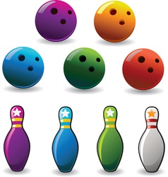 set of colored bowling and pin vector image