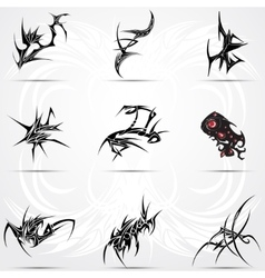Set of cool 9 tribal tattoos vector image