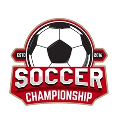 Soccer championship Emblem template with football vector image vector image