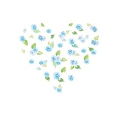 Watercolor delicate flower heart vector image