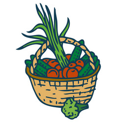 wicker basket with vegetables vector image