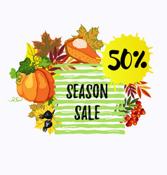 50 season sale banner with leaves pumpkin and vector image