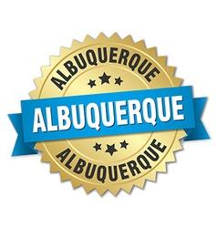Albuquerque round golden badge with blue ribbon vector
