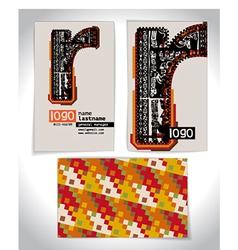 Ancient Business card design LETTER R vector image