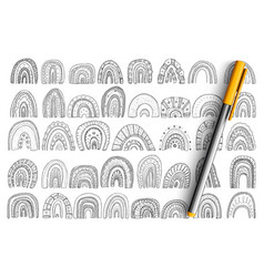 Arches and rainbows shapes doodle set vector