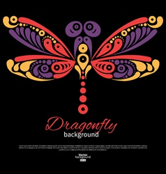 Background with beautiful dragonfly vector image