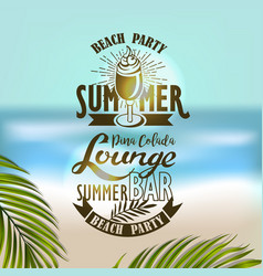 banner for night summer beach party vector image vector image