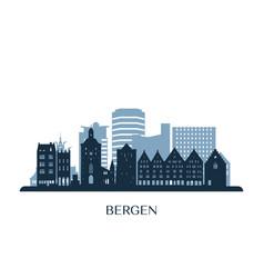 Bergen skyline monochrome silhouette vector
