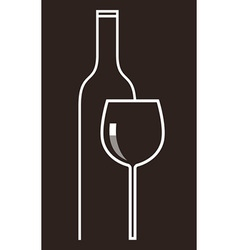 bottle wine and glass vector image