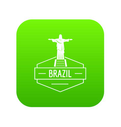 brazil statue icon green vector image