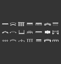 Bridge icon set grey vector