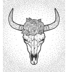 Bull skull with roses native Americans tribal vector