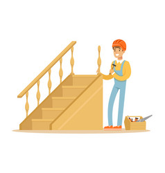 Carpenter building a wooden staircase woodworker vector